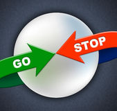 Disparaissent les flèches d'arrêt indique obtiennent aller et contrôle Images stock