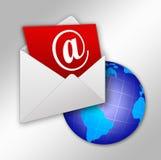 Dispatch of electronic letter. Illustration of dispatch of electronic letter on all of planet royalty free illustration