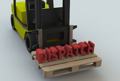 Dispatch, message on wooden pillet with forklift truck. 3D rendering stock illustration