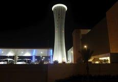 Dispatch Tower at Ben Gurion Airport. BEN GURION, ISRAEL - SEPTEMBER 28, 2018: Dispatch Tower at Ben Gurion Airport at night royalty free stock image