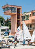 Dispatch yacht club in Pomorie. Bulgaria Stock Photos