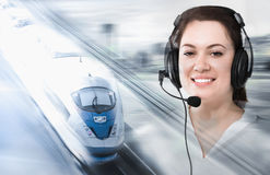 Dispatcher helping train. Female dispatcher helping to navigate train in the railroad Stock Photos