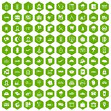 100 dispatcher icons hexagon green. 100 dispatcher icons set in green hexagon isolated vector illustration Stock Photos