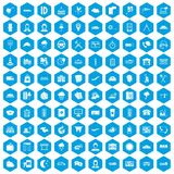 100 dispatcher icons set blue. 100 dispatcher icons set in blue hexagon isolated vector illustration Royalty Free Illustration