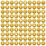 100 dispatcher icons set gold. 100 dispatcher icons set in gold circle isolated on white vectr illustration Royalty Free Stock Photos