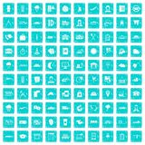 100 dispatcher icons set grunge blue Royalty Free Stock Images