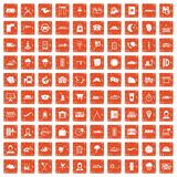 100 dispatcher icons set grunge orange. 100 dispatcher icons set in grunge style orange color isolated on white background vector illustration Stock Photos