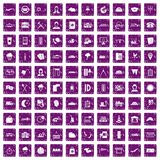 100 dispatcher icons set grunge purple. 100 dispatcher icons set in grunge style purple color isolated on white background vector illustration Stock Photos
