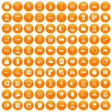 100 dispatcher icons set orange Stock Image