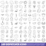 100 dispatcher icons set, outline style. 100 dispatcher icons set in outline style for any design vector illustration Royalty Free Stock Images