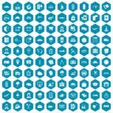 100 dispatcher icons sapphirine violet. 100 dispatcher icons set in sapphirine hexagon isolated vector illustration Vector Illustration