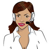 Dispatcher. The image of the smiling african woman talking on a headphone. Stock Photo