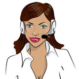 Dispatcher. The image of the smiling african woman talking on a headphone. Royalty Free Stock Photo
