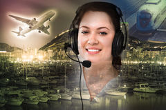 Dispatcher navigating plane Royalty Free Stock Images