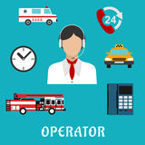 Dispatcher or operator profession icons. Operator of call center  or dispatcher profession flat icons with woman, headset and neckerchief, surrounded by handset Stock Photo
