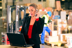 Dispatcher using phone at warehouse of forwarding. Friendly Woman, dispatcher or supervisor using cell phone and laptop at warehouse of forwarding company Stock Photos