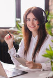 Dispatcher. Woman working in call center as dispatcher Royalty Free Stock Images