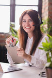 Dispatcher. Woman working in call center as dispatcher Stock Images