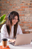 Dispatcher. Woman working in call center as dispatcher Royalty Free Stock Photos