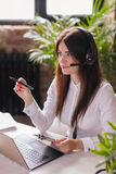 Dispatcher. Woman working in call center as dispatcher Royalty Free Stock Image