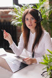 Dispatcher. Woman working in call center as dispatcher royalty free stock photo