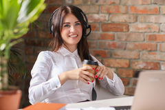Dispatcher. Woman working in call center as dispatcher royalty free stock photography