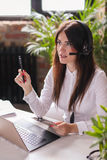 Dispatcher. Woman working in call center as dispatcher Stock Image