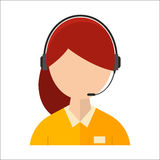 Dispatcher young smiling woman talking headphone headset office graphics business support professional job operator. Dispatcher young smiling woman talking on Royalty Free Stock Photography
