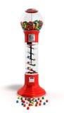 Dispensador rojo del gumball del vintage hecho a máquina del vidrio y del reflecti stock de ilustración