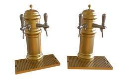 Dispensadores de oro de la cerveza Imagen de archivo
