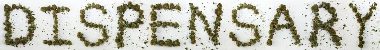 Dispensario compitato con marijuana Immagini Stock Libere da Diritti