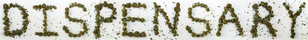 Dispensary Spelled With Marijuana. The word Dispensary spelled out with real marijuana royalty free stock images