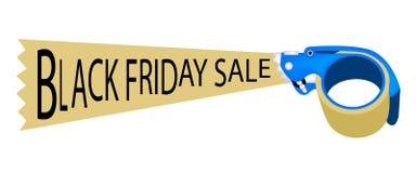 Dispenser per nastro adesivo con la vendita di Black Friday di parola Fotografie Stock Libere da Diritti