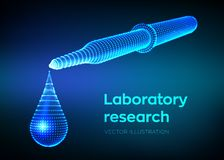Dispensing pipette with emerging drop. Laboratory research. Wireframe medical pipette with liquid and falling droplet. Scientific stock illustration