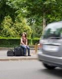 Disperazione del hitchhiker Fotografia Stock Libera da Diritti