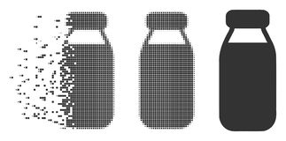Bottle Broken Pixel Halftone Icon. Dispersed bottle pixel icon with disintegration effect. Halftone dotted and intact entire gray versions. Dots have rectangle Stock Photos