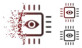 Dispersed Dot Halftone Bionic Vision Chip Icon. Bionic vision chip icon in sparkle, pixelated halftone and undamaged entire variants. Pixels are combined into royalty free illustration