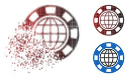 Dispersed Dotted Halftone Global Casino Chip Icon. Global casino chip icon in sparkle, dotted halftone and undamaged entire variants. Elements are grouped into royalty free illustration