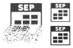 Dispersed Dotted Halftone September Calendar Grid Icon. September calendar grid icon in dispersed, dotted halftone and undamaged variants. Cells are combined Vector Illustration