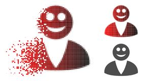 Dispersed Pixelated Halftone Smiled User Icon. Smiled user icon in sparkle, pixelated halftone and undamaged solid variants. Pieces are arranged into vector stock illustration