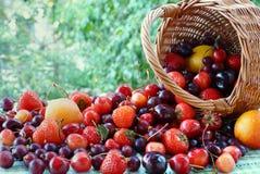 Dispersión de las bayas y de las frutas de la cesta Fotografía de archivo libre de regalías