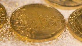 Dispersión de las chispas de la moneda que pertenece a la macro del sistema de Litecoin metrajes