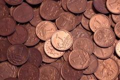 Dispersión de las monedas rusas Imágenes de archivo libres de regalías