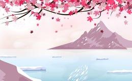 Dispersión que cae de Sakura con la Luna Llena, paisaje con la montaña del hielo, concepto del cartel del fondo japonés del cambi ilustración del vector