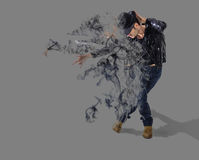 Dispersione del fumo del ballerino Fotografie Stock