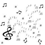 Dispersiones de los símbolos de música en el fondo blanco ilustración del vector