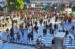 Dispersions de foule au passage clouté dans la rue passante Photo libre de droits