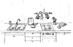 Dispersore di cucina Piano di lavoro della cucina con il lavandino Lo schizzo della cucina Immagini Stock Libere da Diritti