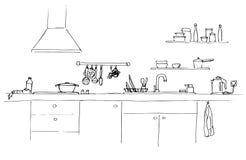 Dispersore di cucina Piano di lavoro della cucina con il lavandino Lo schizzo della cucina Fotografia Stock Libera da Diritti