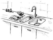 Dispersore di cucina Piano di lavoro della cucina con il lavandino Lo schizzo della cucina Fotografia Stock